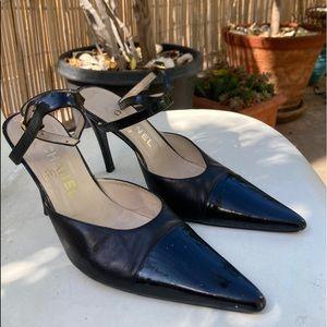 Channel ankle strap high heel. Black. 37.5